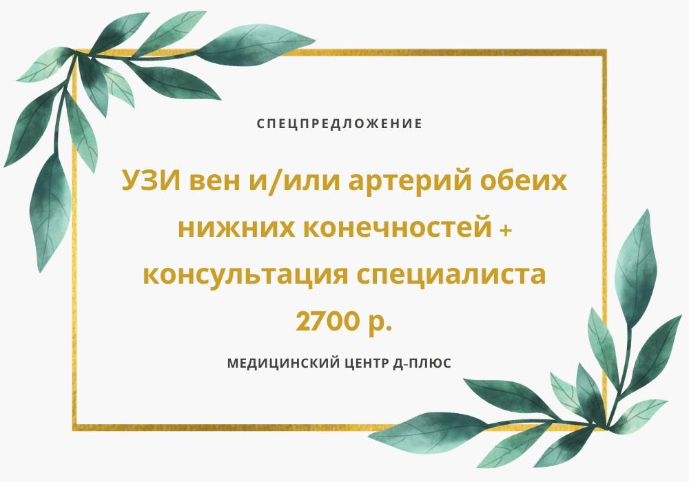 УЗИ нижних конечностей + консультация специалиста — 2700 руб.
